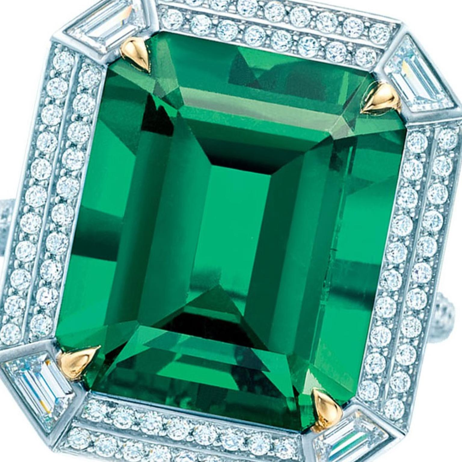Autumn Emeralds WS Theme Square Tiffany ring