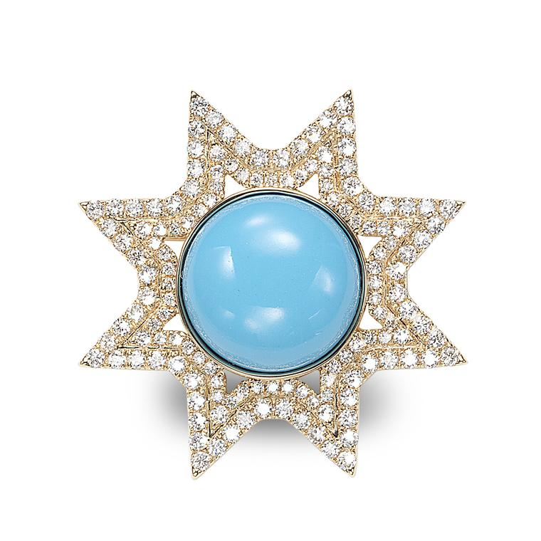 Octium Sun Collection yellow gold Sun turquoise and diamond brooch