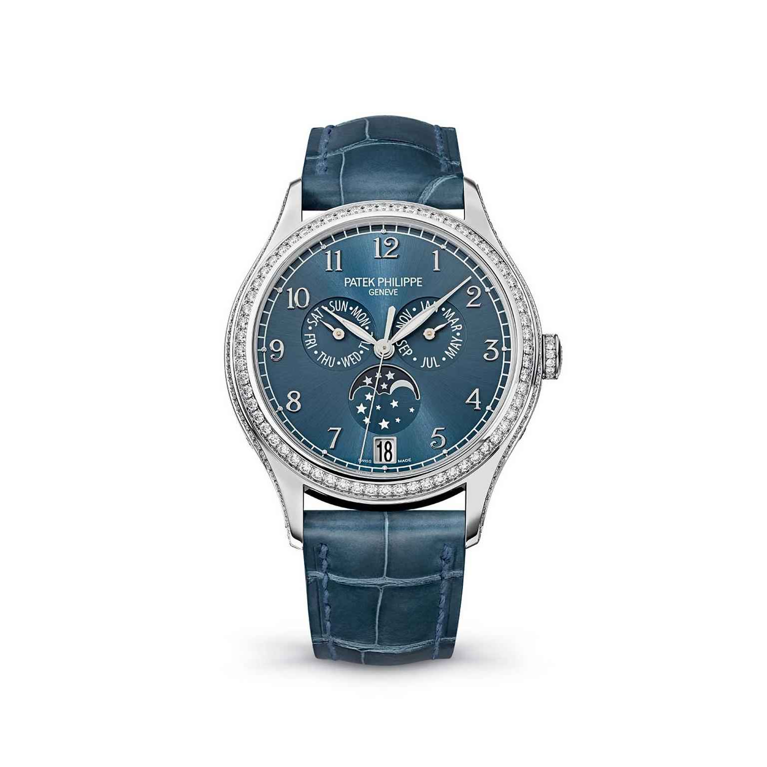 Patek Philippe Annual Calendar white gold with blue strap