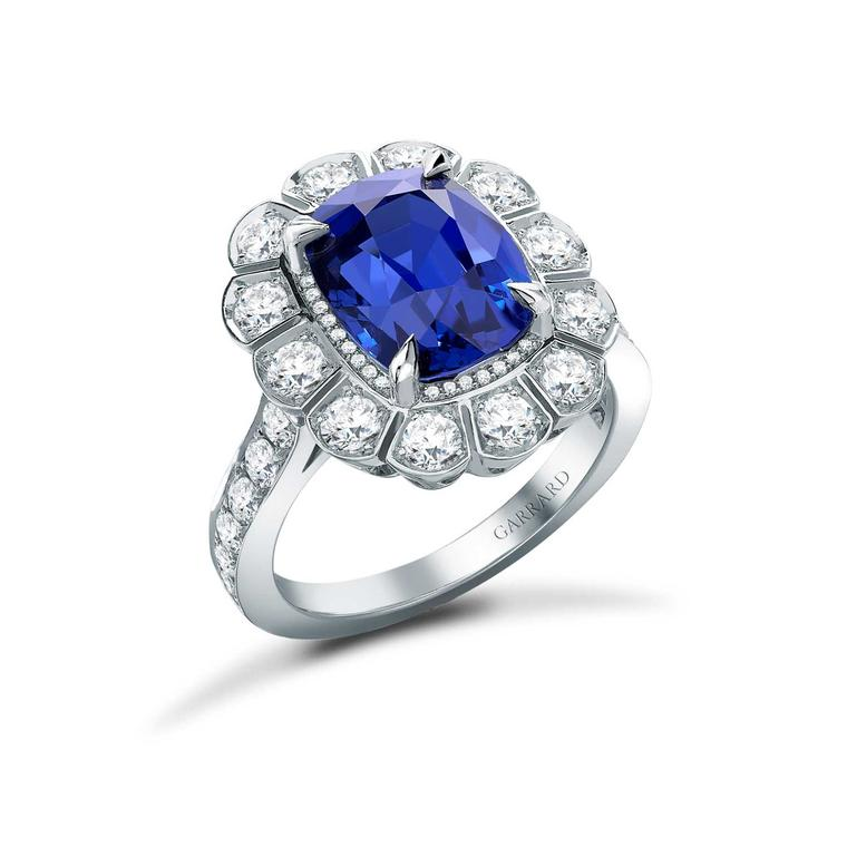 Marguerite 1735 diamond and sapphire engagement ring