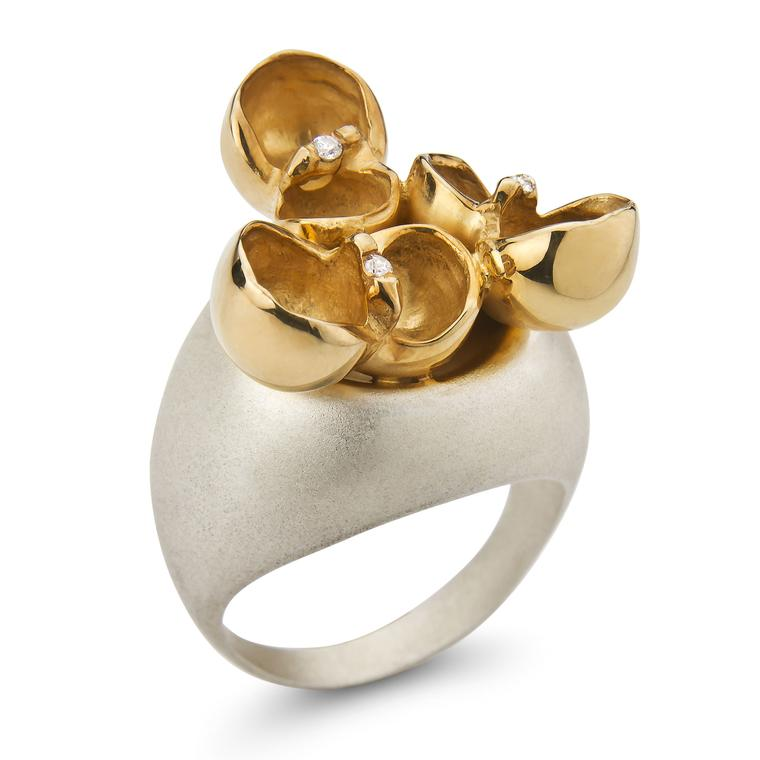 Lara Mader silver, yellow gold and diamond ring