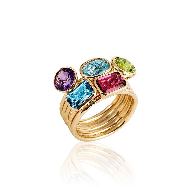 Goshwara multicoloured gemstone ring