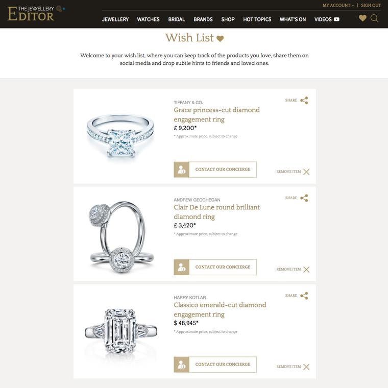 Bridal wishlist on The Jewellery Editor