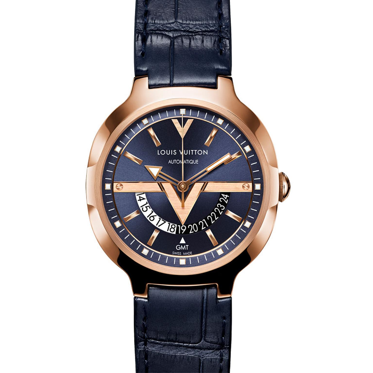 Louis Vuitton Voyager GMT watch in pink gold