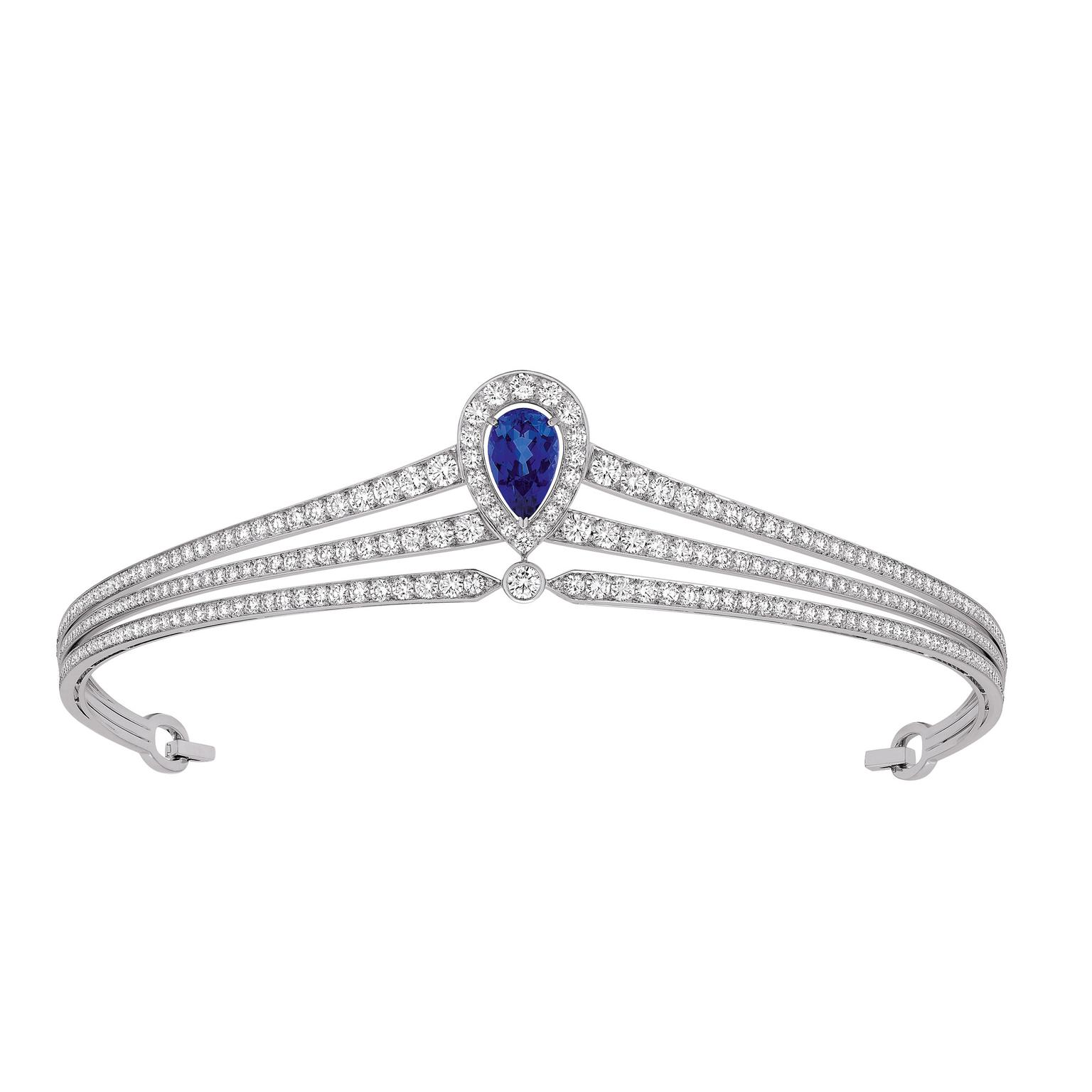 Chaumet Joséphine pear-shaped blue sapphire headband