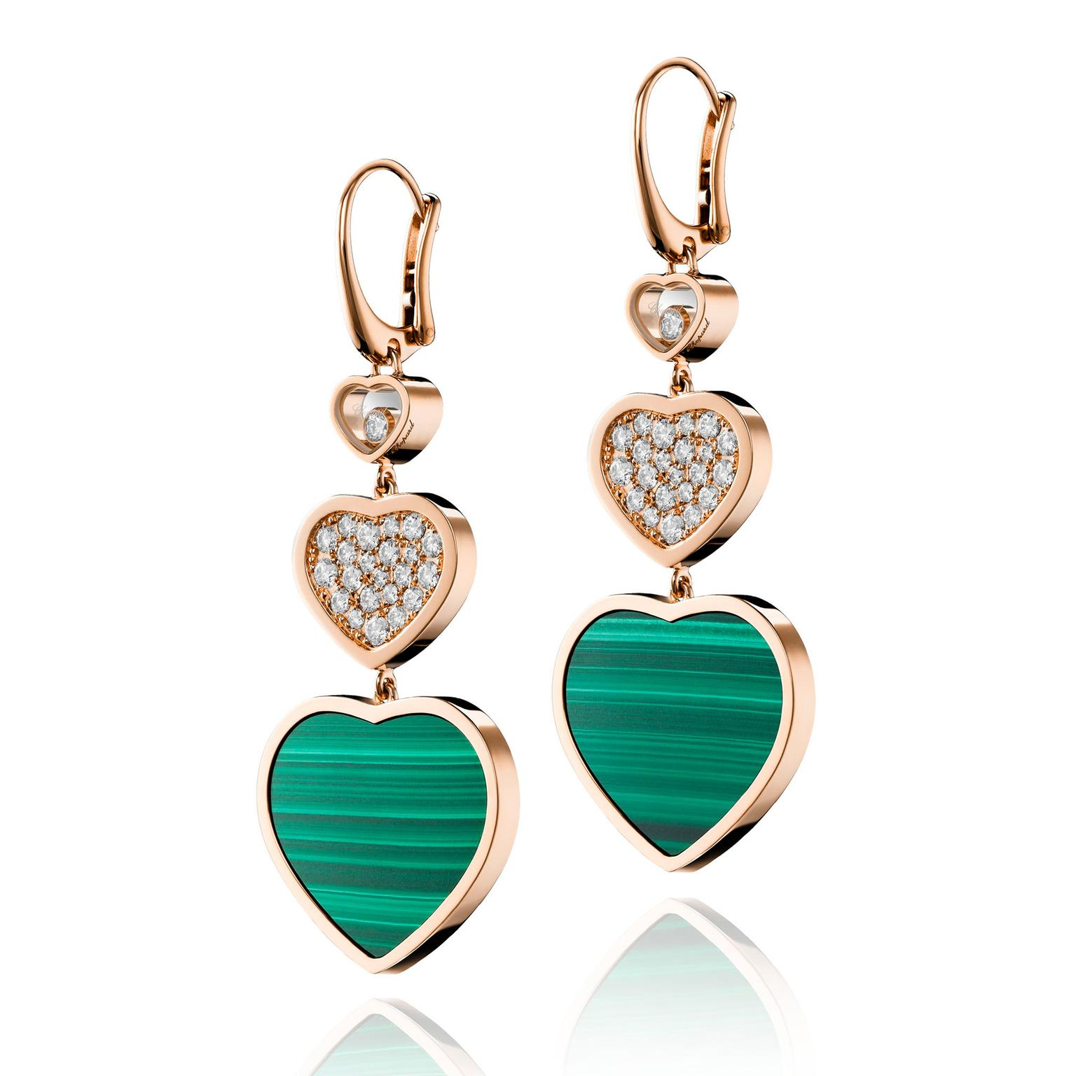 Chopard Happy Hearts malachite and diamond earrings