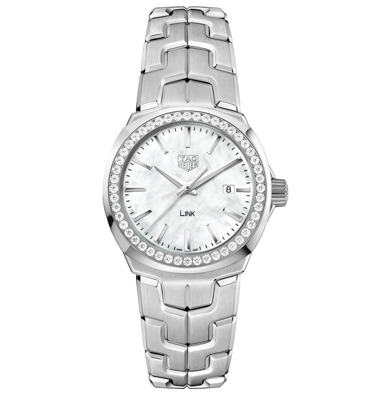 Lady Link watch with white mother-of-pearl dial and diamond bezel