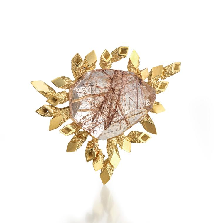 John Donald rutilated quartz brooch