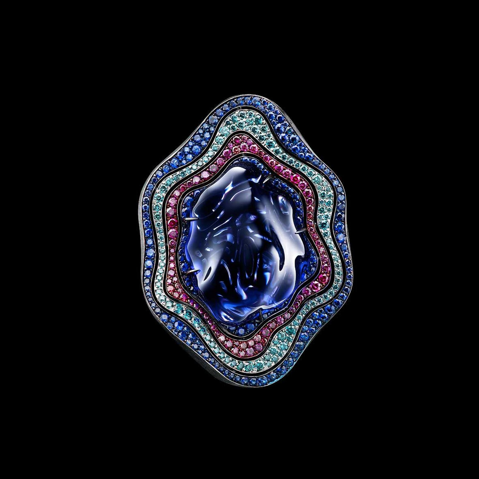 Jewellery Theatre Ocean ring with baroque tanzanite, diamonds and sapphires