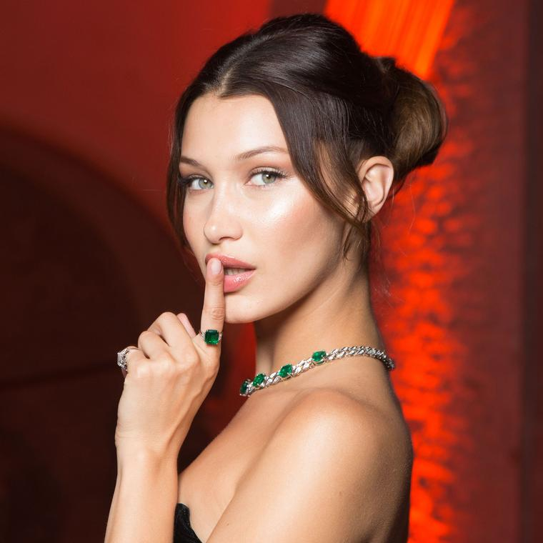 Bella Hadid in a Bulgari Festa emerald necklace