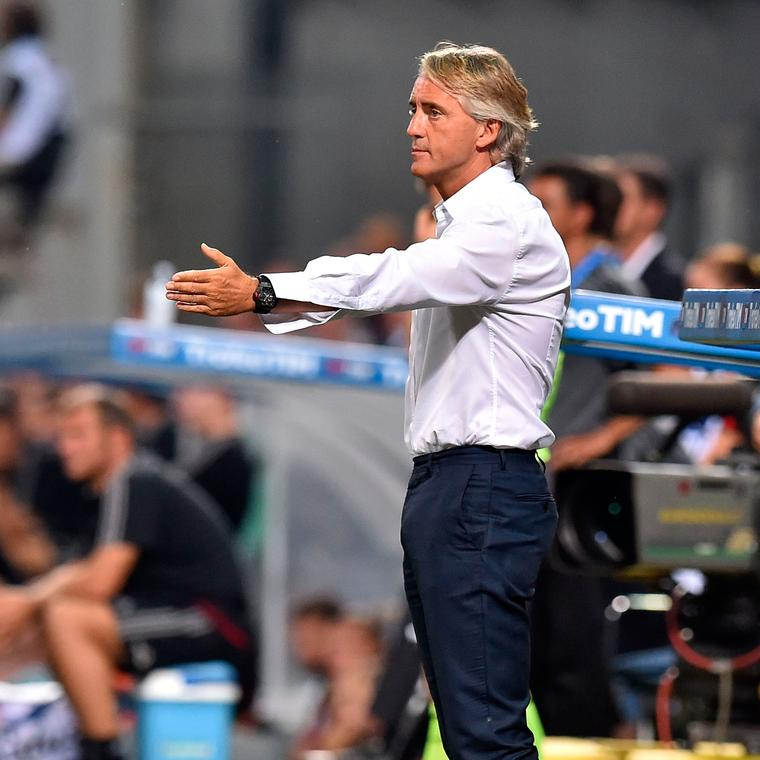 Football manager Roberto Mancini wearing a Richard Mille watch