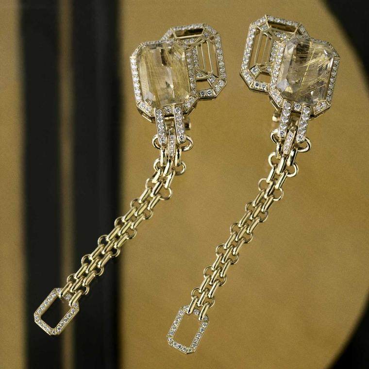 Chanel Gallery My Chain rutilated quartz earrings