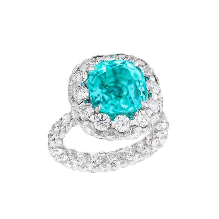 Les Merveilles Paraiba tourmaline and diamond ring