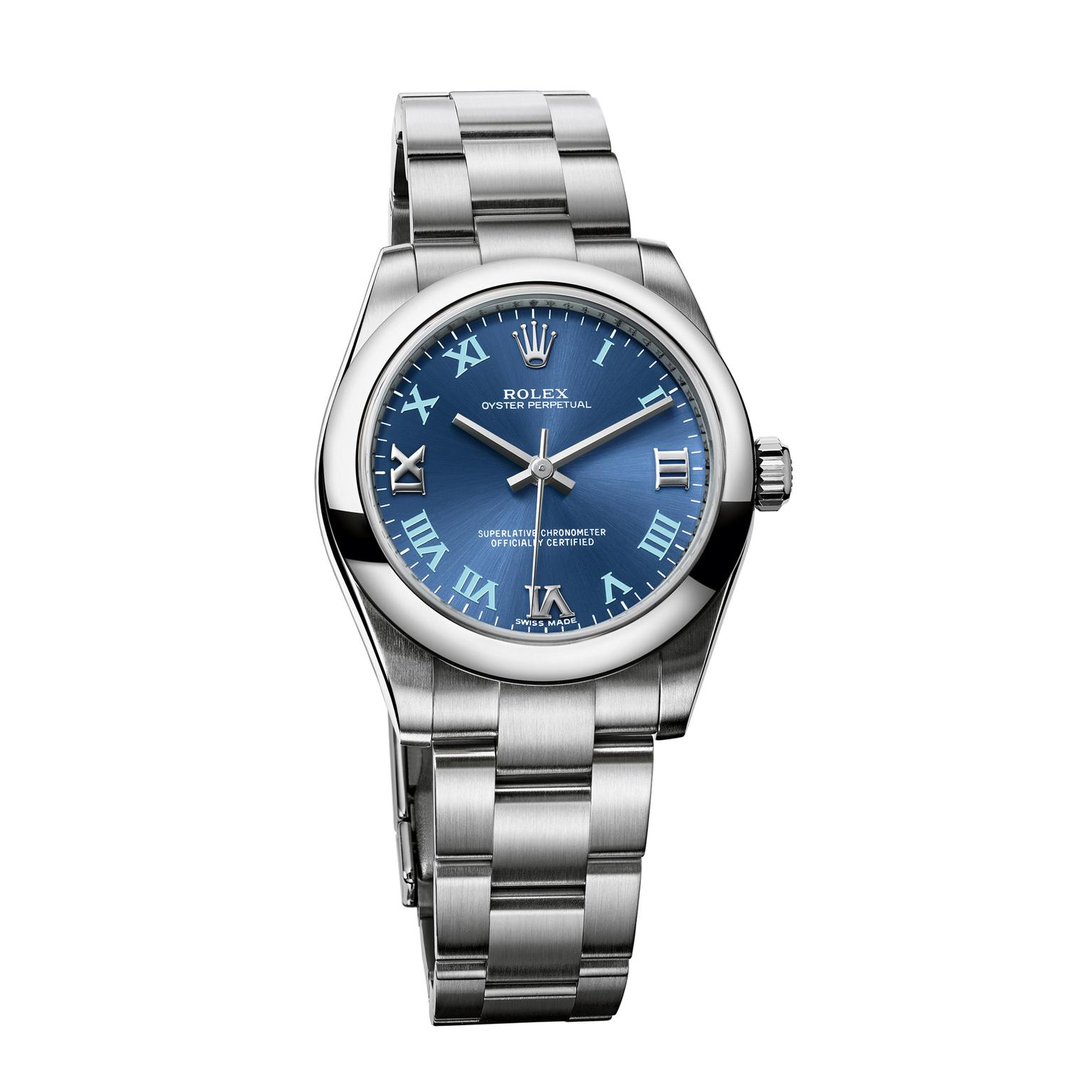 Rolex Oyster Perpetual watch 31mm in stainless steel with a blue dial
