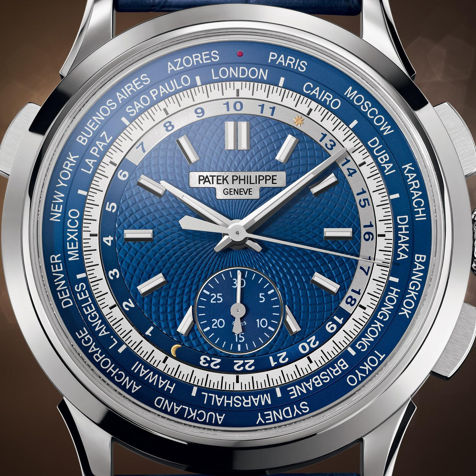 Patek Philippe World Time Chronograph blue watch