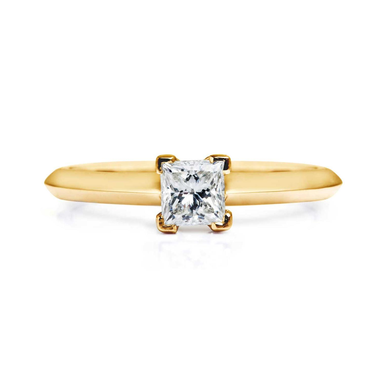 Arabel Lebrusan Nova ethical square diamond engagement ring in Fairtrade gold