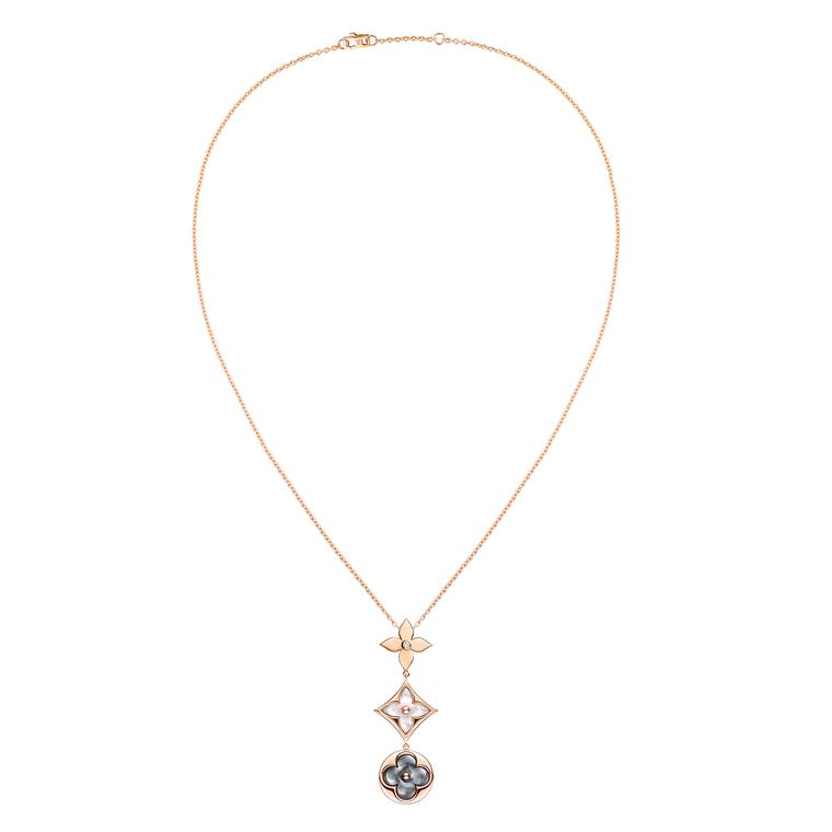 Louis Vuitton jewellery necklace in white and grey mother-of-pearl