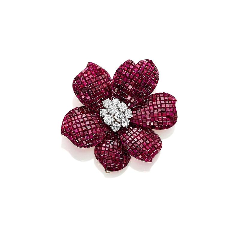 Van Cleef & Arpels ruby and diamond flower brooch