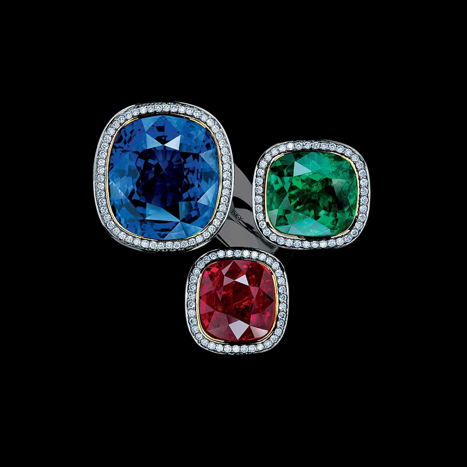 Maxim V Art Stones ring with emerald, ruby and sapphire top view