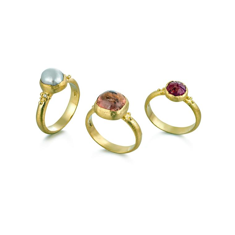 Milly Swire pearl, diamond, tourmaline and ruby rings