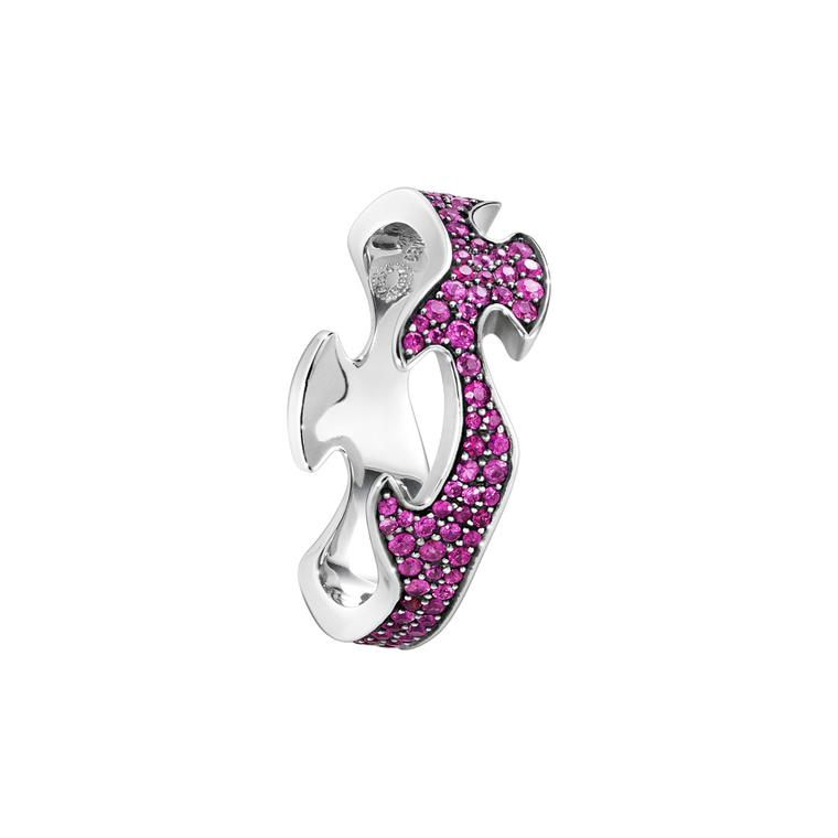 Georg Jensen Fusion Centre ring in white gold with pink sapphires
