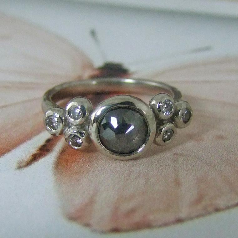 Palladium and grey diamond engagement ring