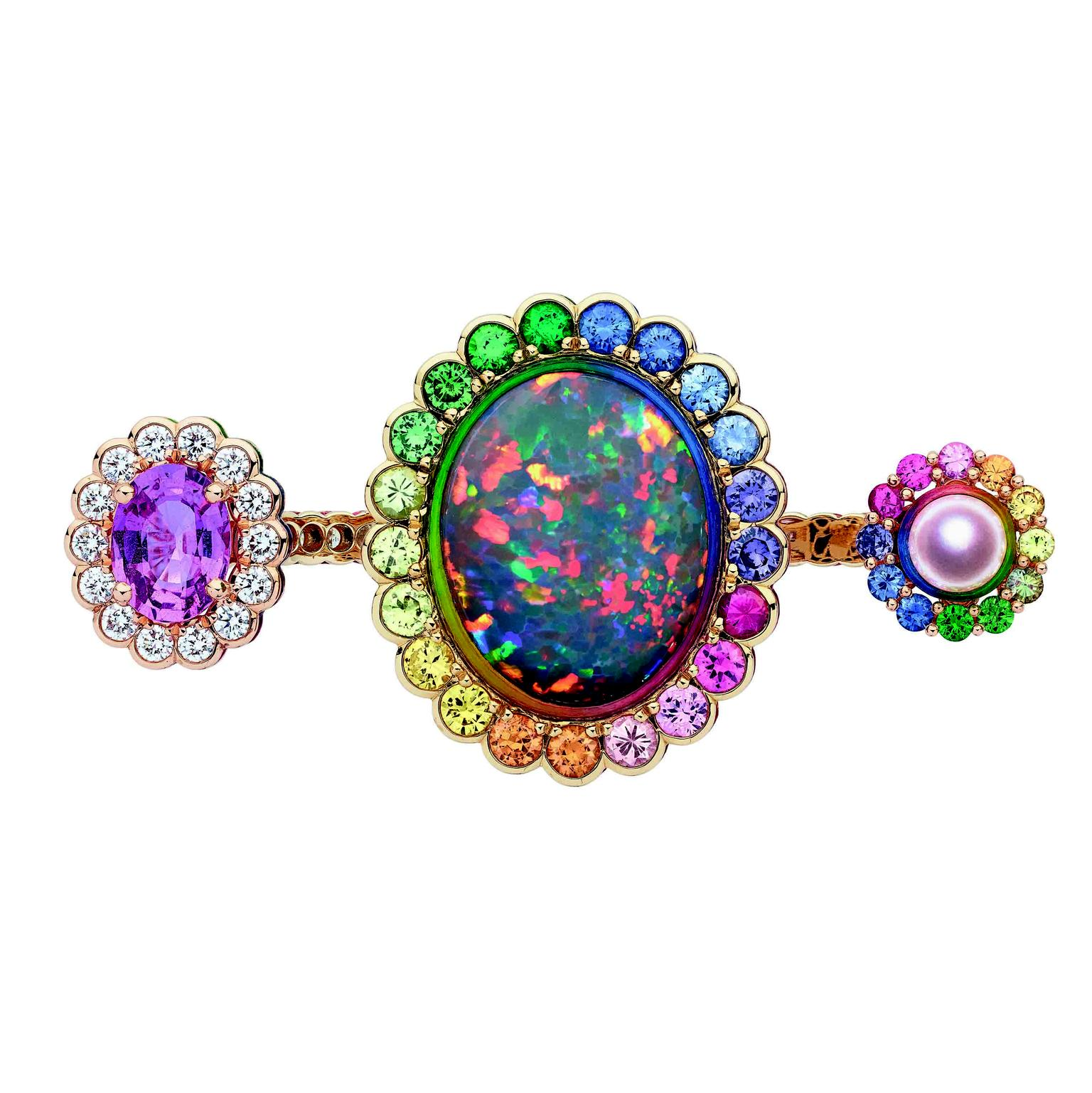 Dior et Moi black opal double ring