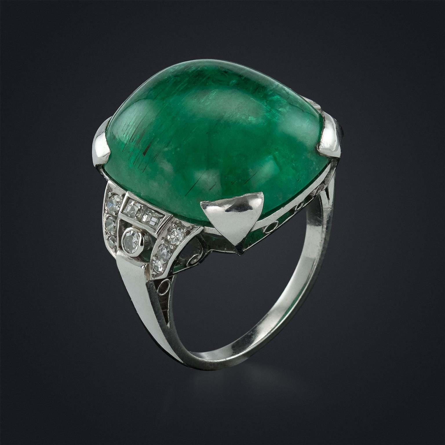 Vintage 20-carat cabochon emerald ring in platinum with diamonds