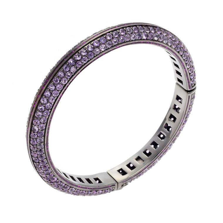 Matthew Campbell Laurenza Orbit silver bracelet with amethyst set in black rhodium
