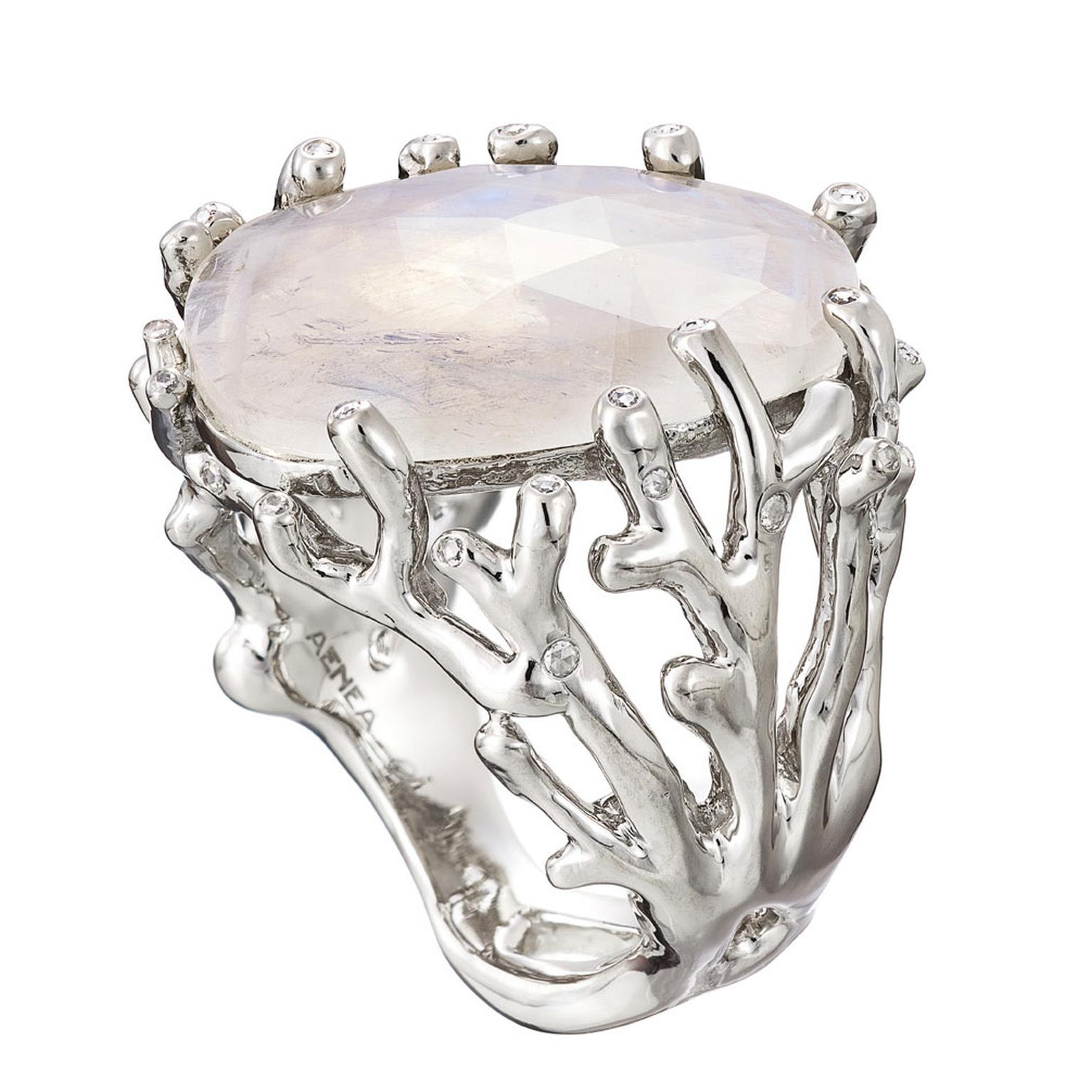 AENEA Alaria rainbow moonstone ring