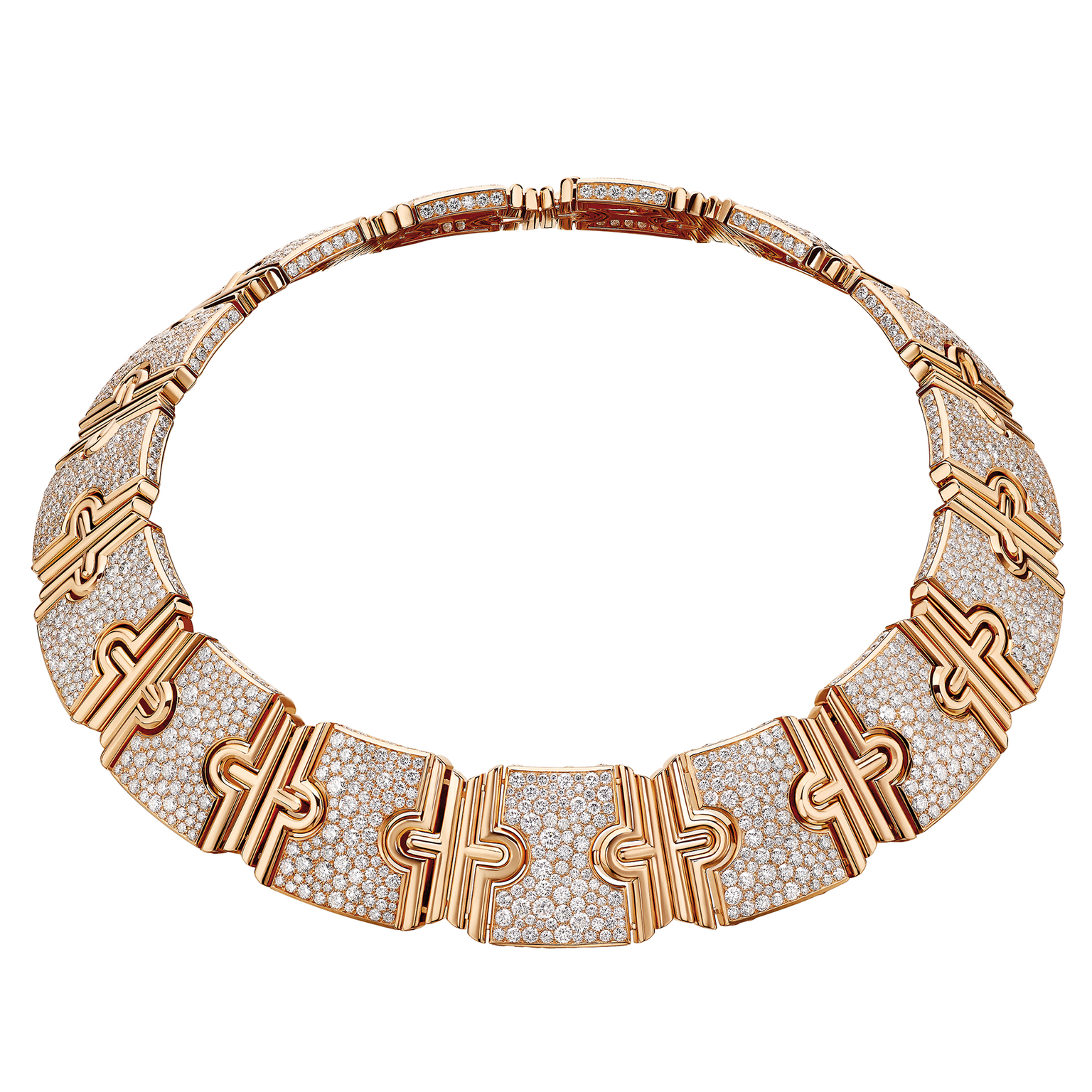Bulgari Parentes gold necklace set with diamond pavé