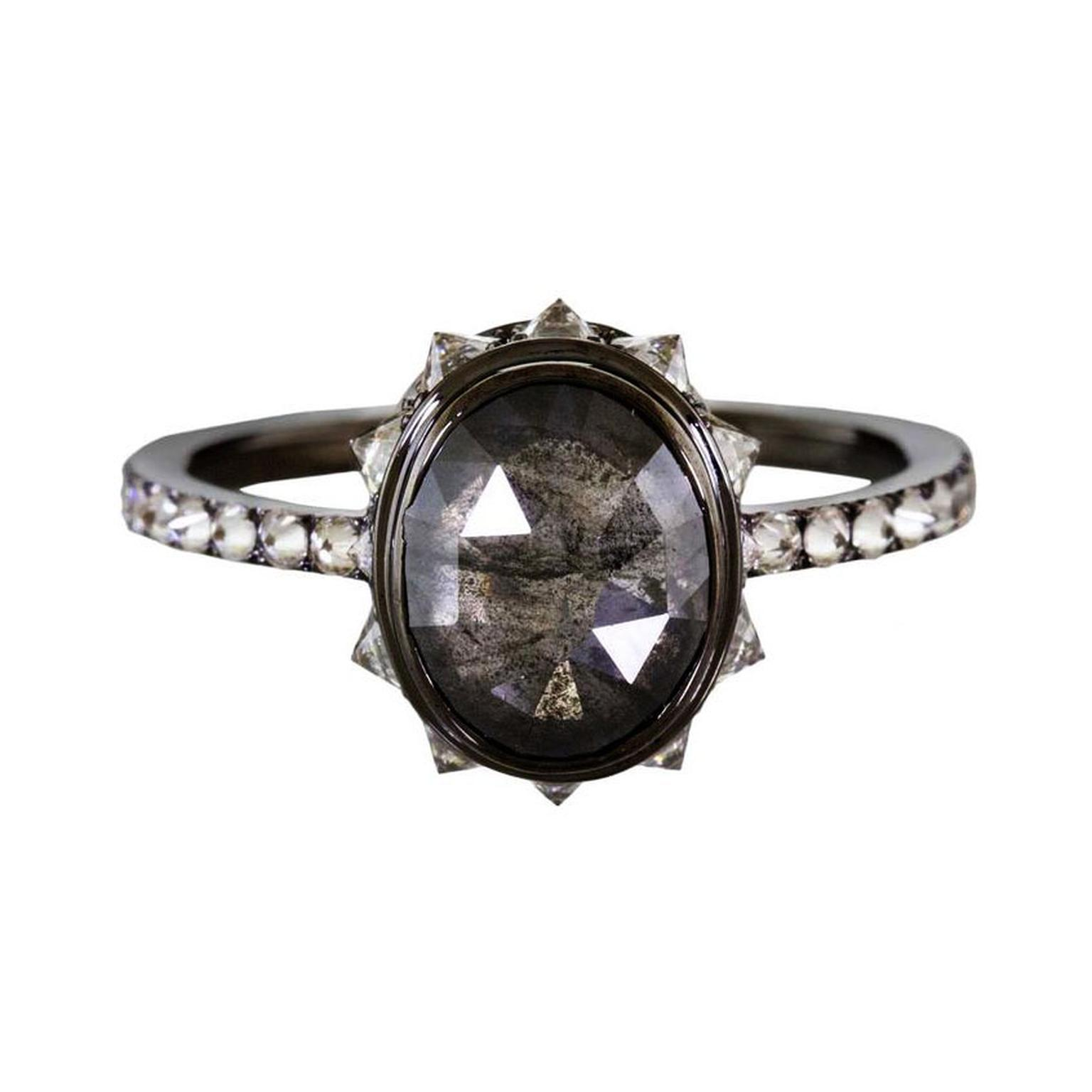 Eva Fehren Rustic Diamond Nirvana black diamond engagement ring