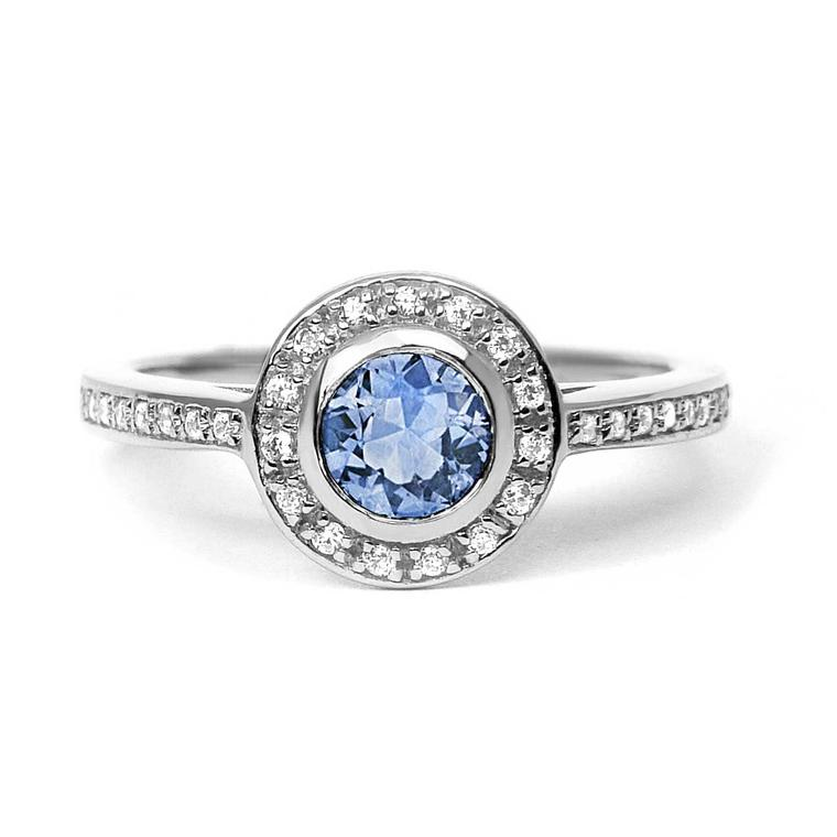 Arabael Lebrusan Efflorescence ethical light blue sapphire engagement ring in Fairtrade gold