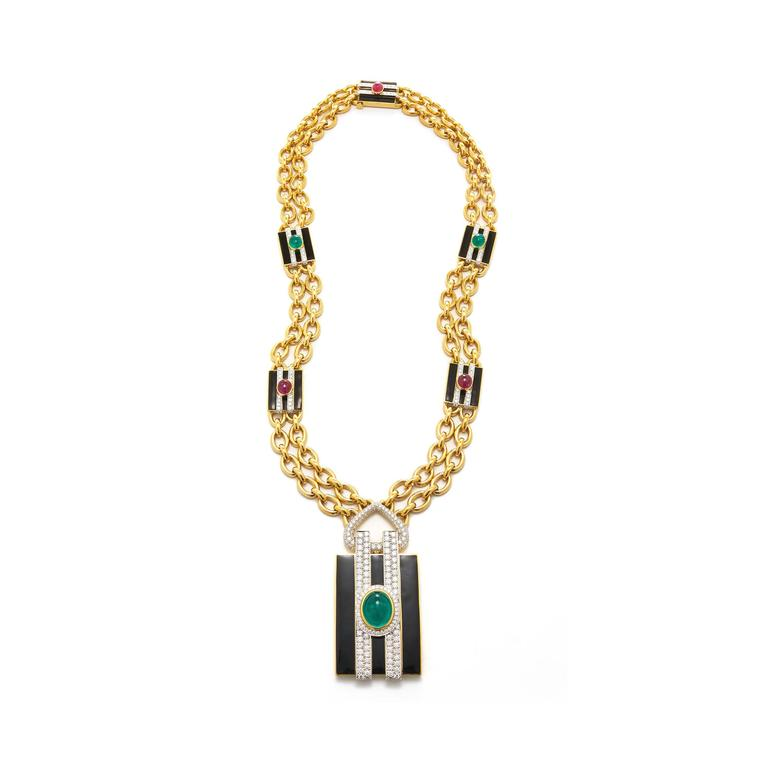 David Webb necklace with Gemfields emeralds for Bergdorf Goodman
