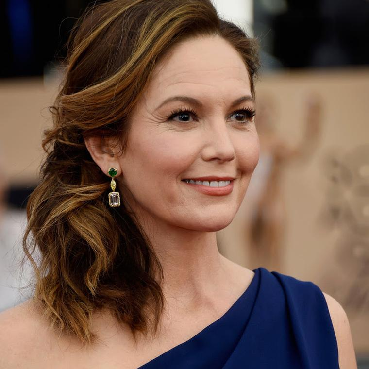 Diane Lane wearing Harry Kotlar red carpet jewelry