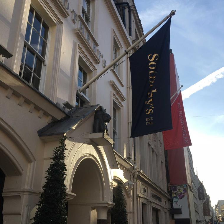 Exterior of Sotheby's auction house in London on Bond Street