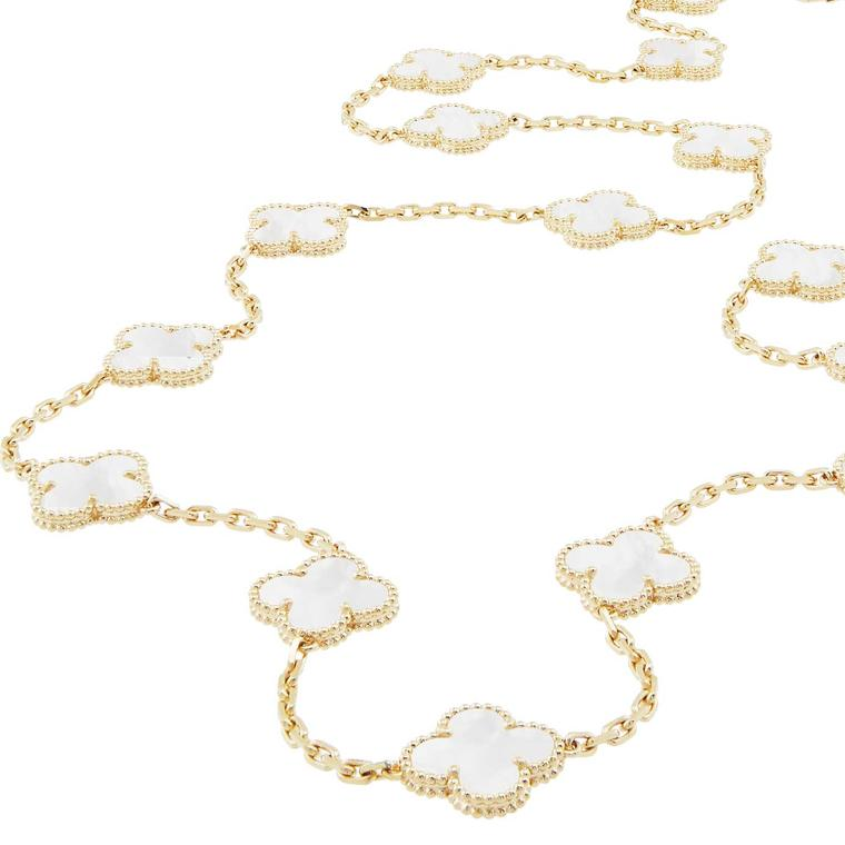 Van Cleef Arpels Vintage Alhambra necklace in rock crystal created in limited numbers for the jewel's 50th anniversary