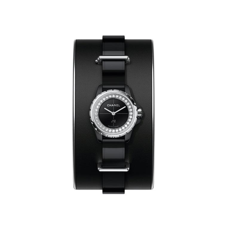 Chanel J12 XS small cuff black ceramic watch