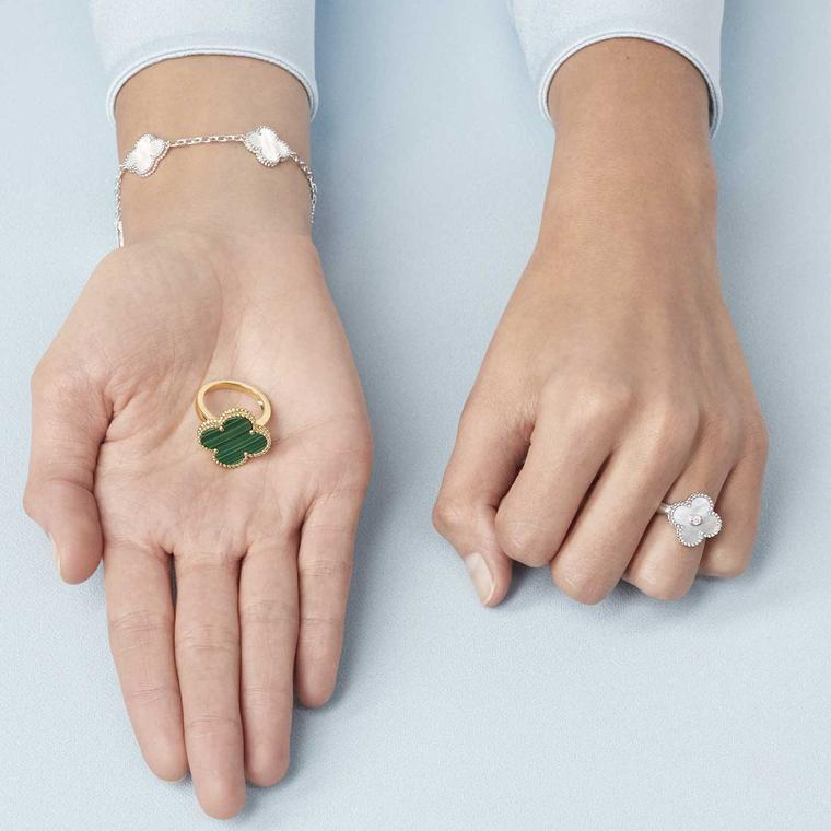 Van Cleef Arpels Alhambra malachite ring, mother of pearl ring and bracelet.