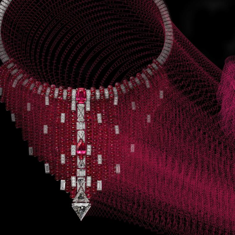 Detail of Cartier Kanaga Necklace with spinels and diamonds from Coloratura collection 2018