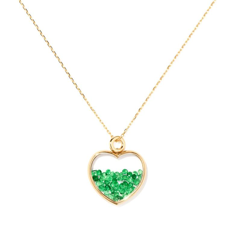 Aurelie Bidermann Emerald Baby Heart Chivor necklace