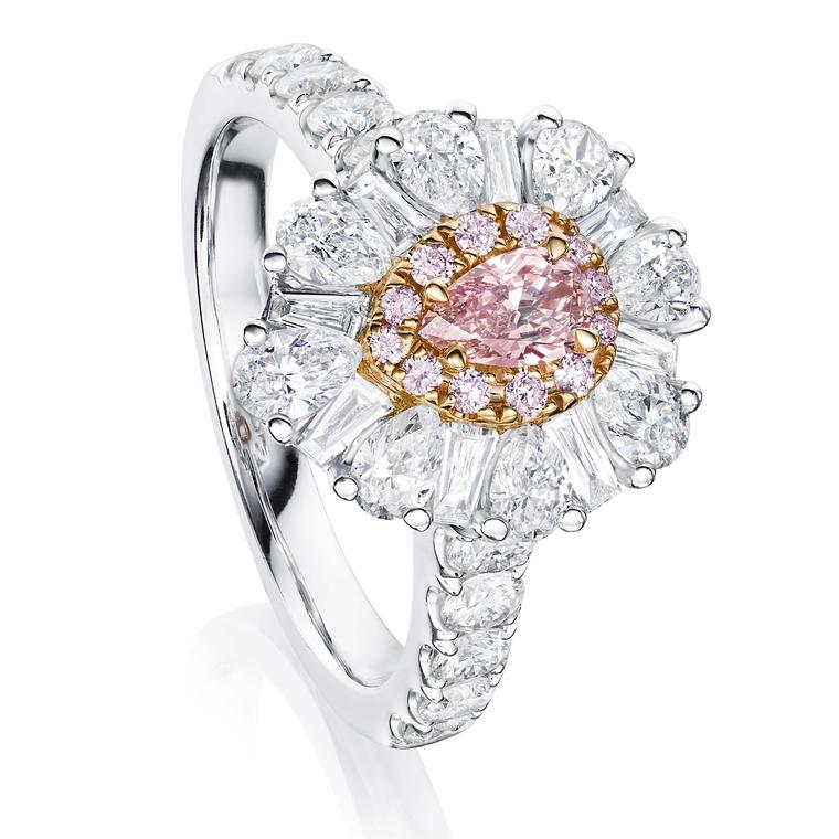 Pink and white diamond engagement ring from Ortaea