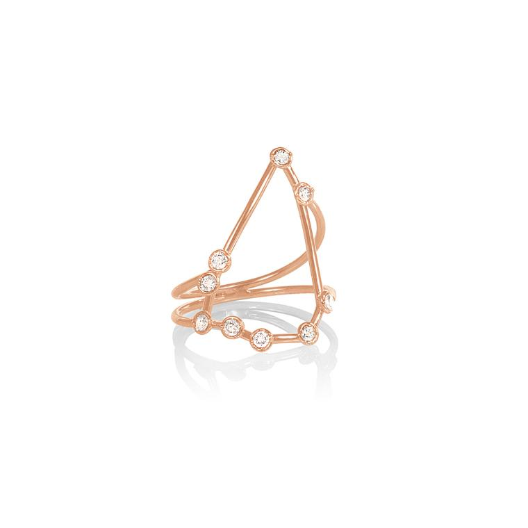 Jessie V E rose gold and diamond Capricorn ring