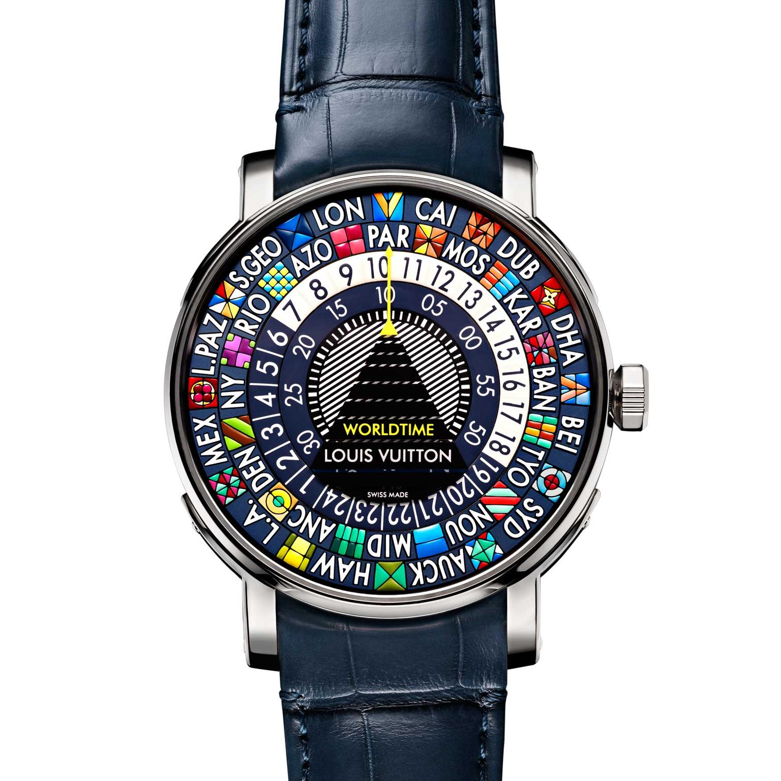 Louis Vuitton Escale Worldtime Blue watch with leather strap