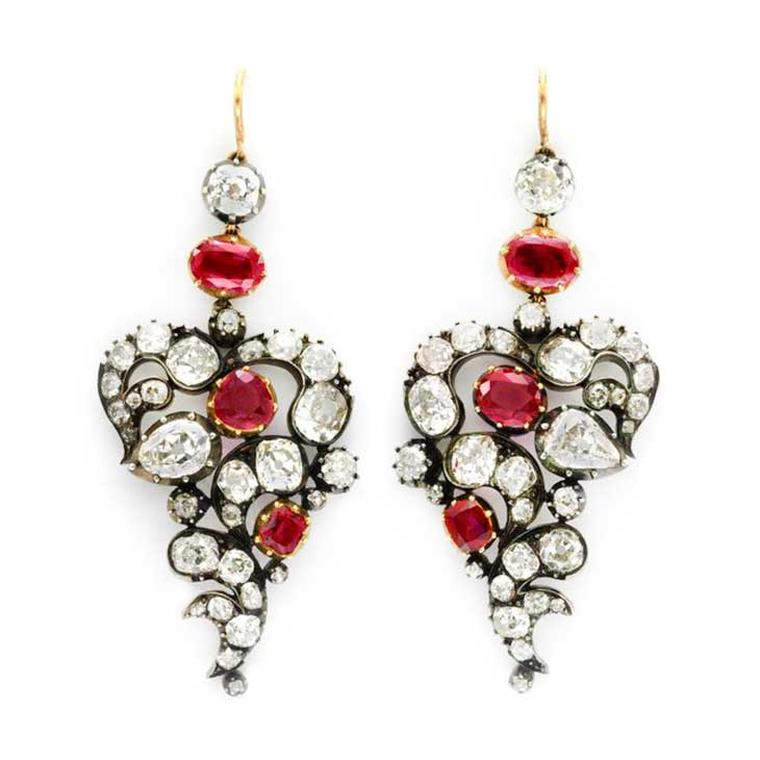 FD Gallery Burmese ruby and diamond ear pendants