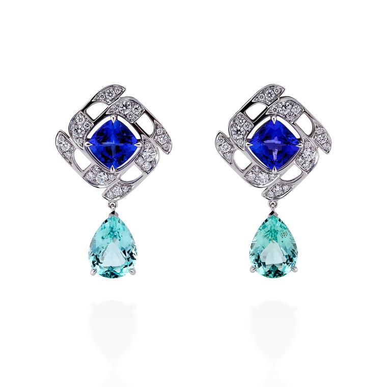 Boodles Prism tanzanite and green beryl earrings with diamonds