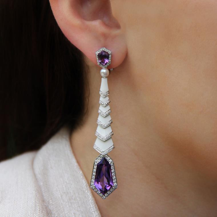 Avakian Gatsby earrings in amethyst and enamel