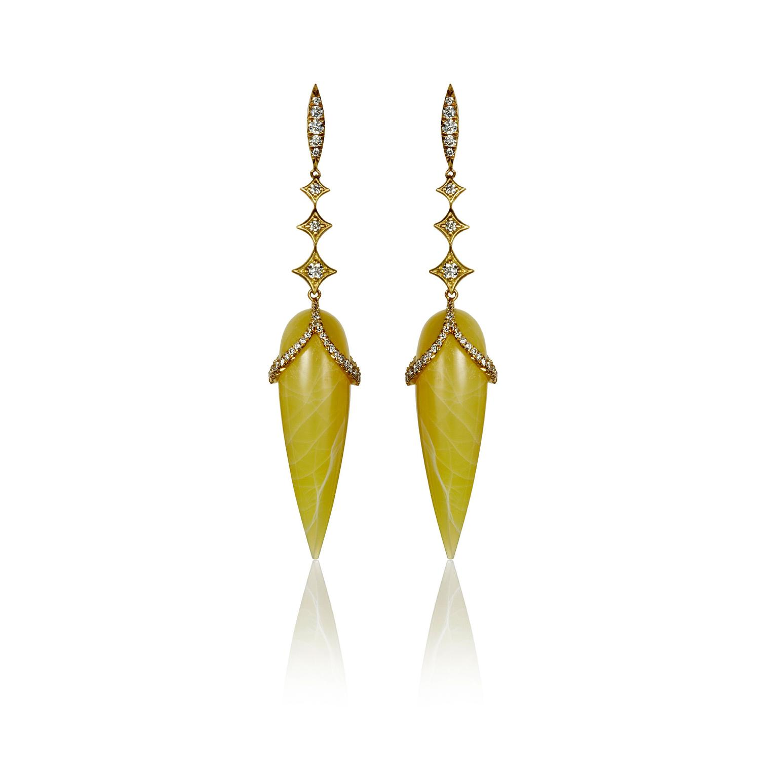 Anahita Jewelry yellow opal briolette diamonds earrings