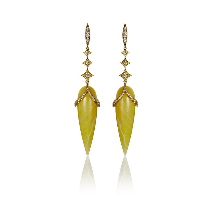 Yellow opal briolette earrings