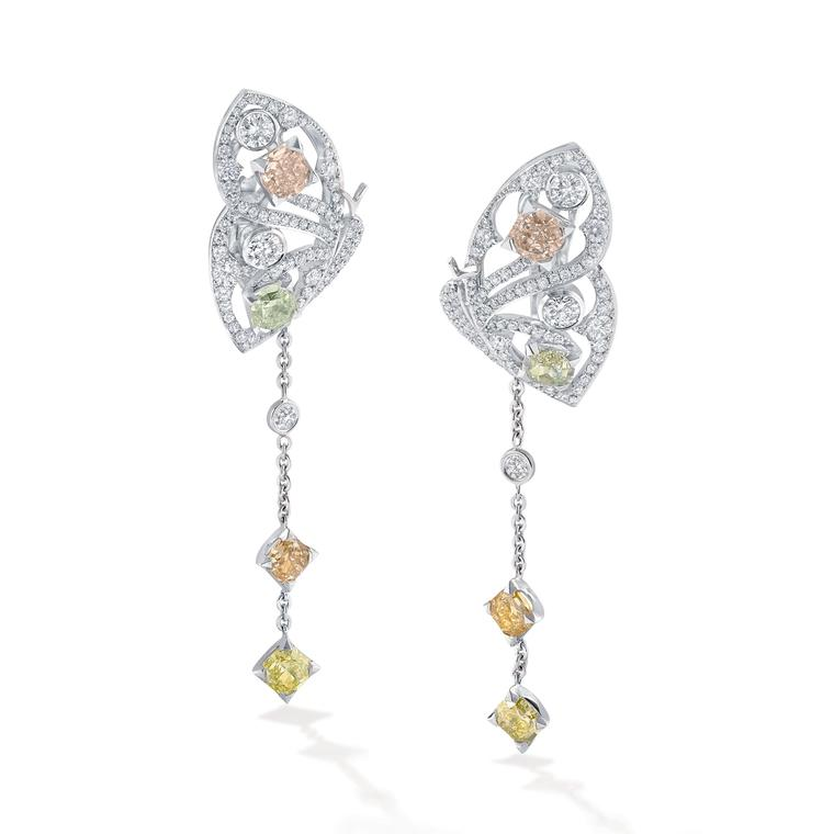 Boodles Finely Coloured Autumn Butterfly diamond earrings